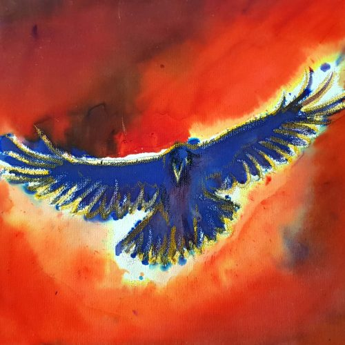 Blue crow on red