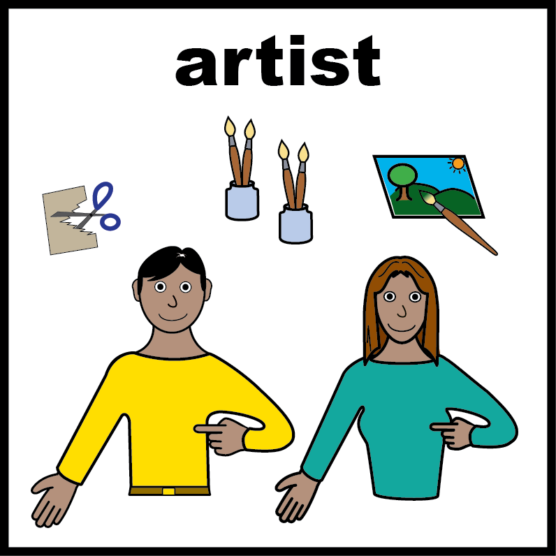 Bold graphic of man and woman with art materials: scissors, paint brushes, painting