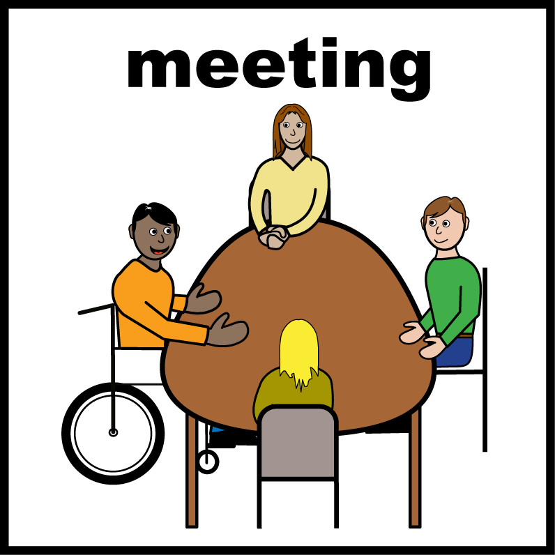 Line drawing of 4 people sitting round a table, illustrating the word 'meeting'