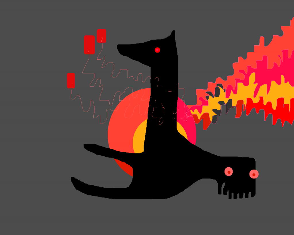 Black long-necked creature on grey background with sqiggles of yellow and reds