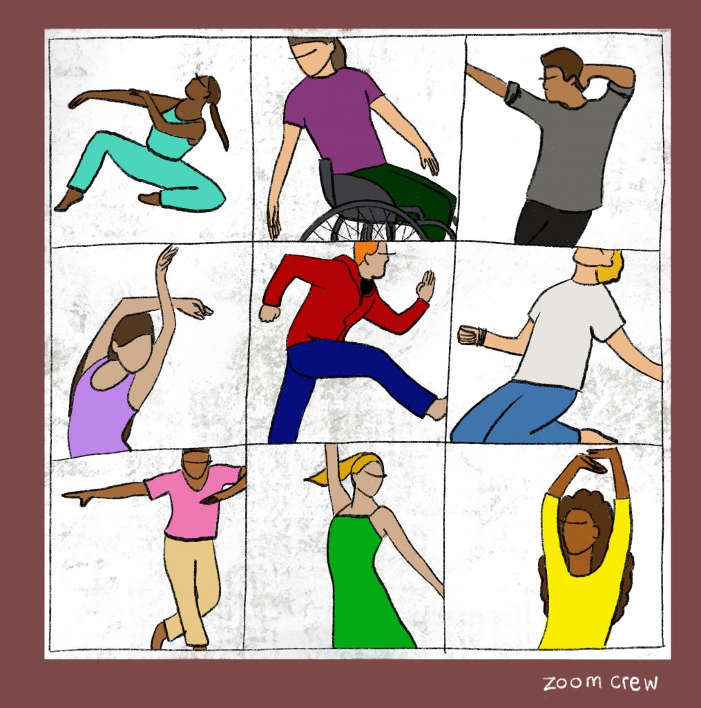 Illustration. A square divided into nine sections, each has a drawing of a person mid-movement