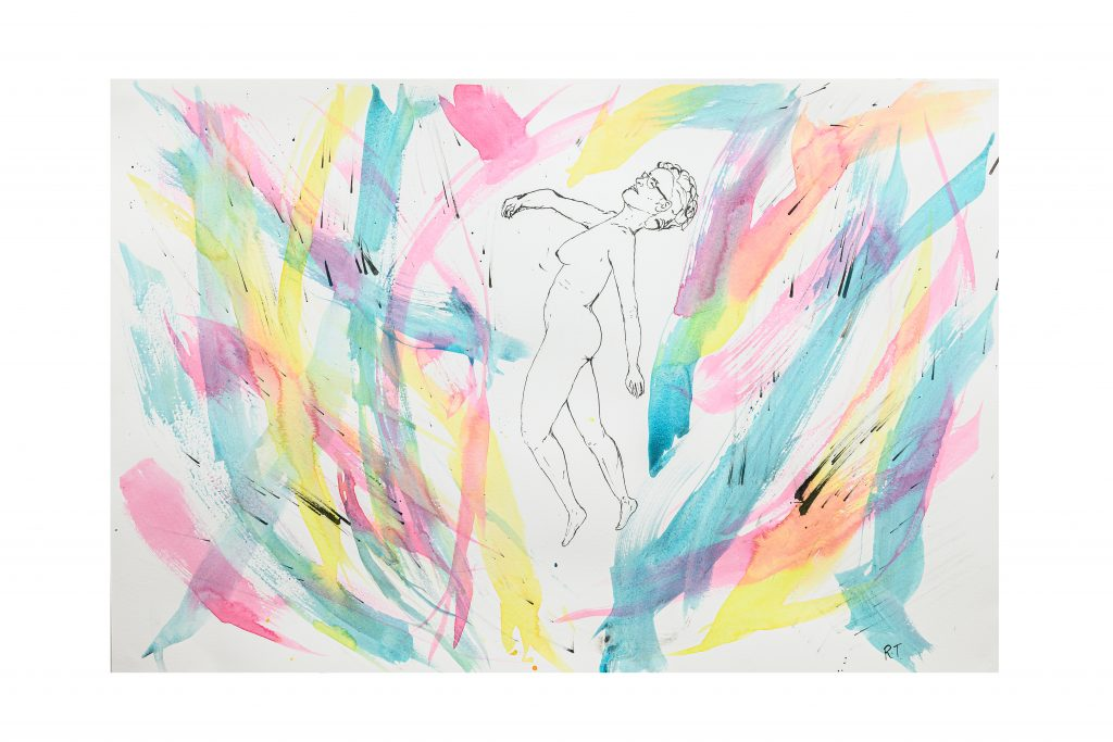 Ink drawing of naked figure floating amongst brushstrokes