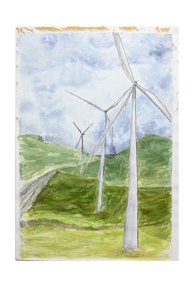 Watercolour of wind turbines in countryside