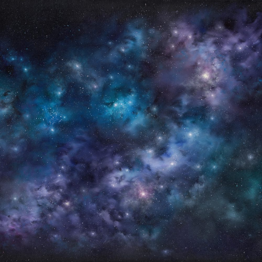 Painting of constellation of stars in dark sky