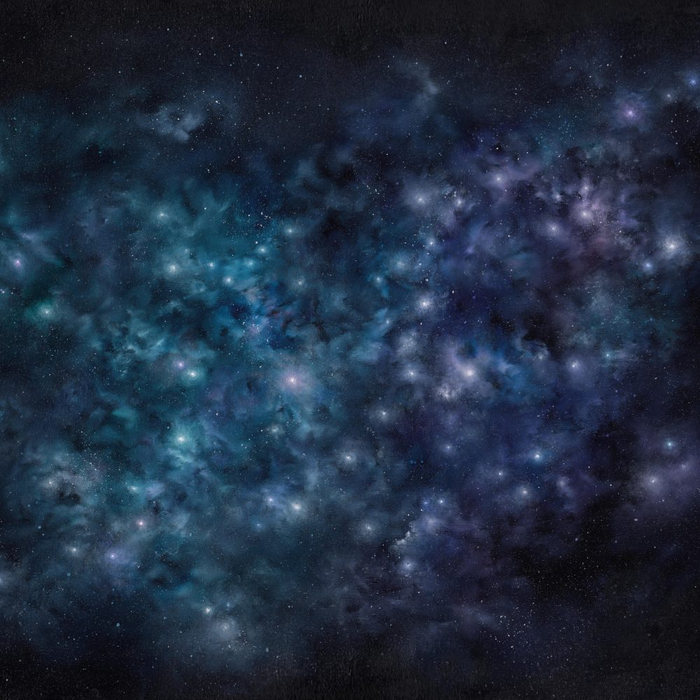 Painting of stars shining through cloudy night sky