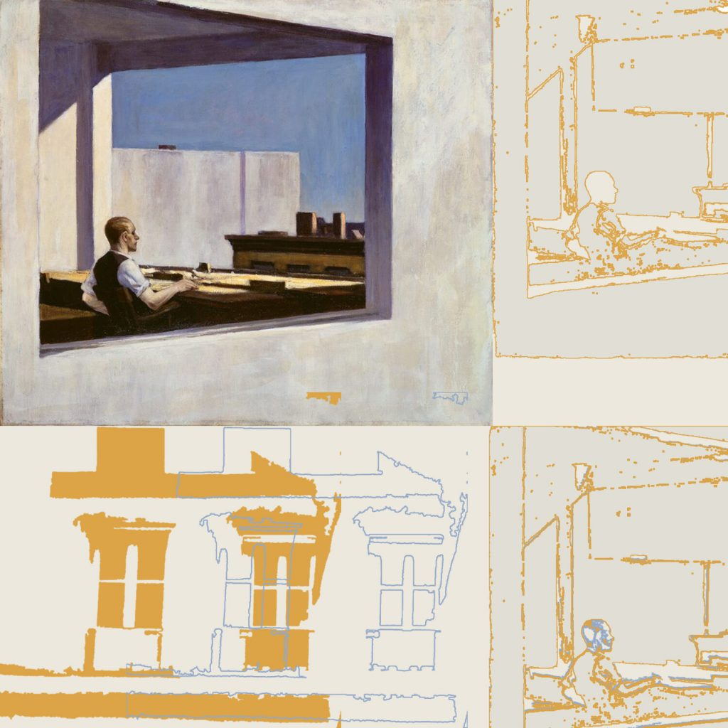 An image of an Edward Hopper painting takes up over a quarter of the space, the rest is outlines of elements of the scene