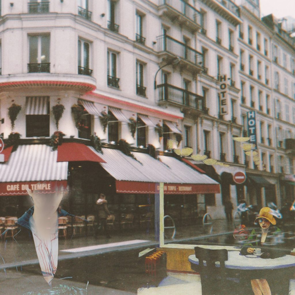 Photo of a Paris corner cafe taken from across the street. Shades of Hopper characters creep in